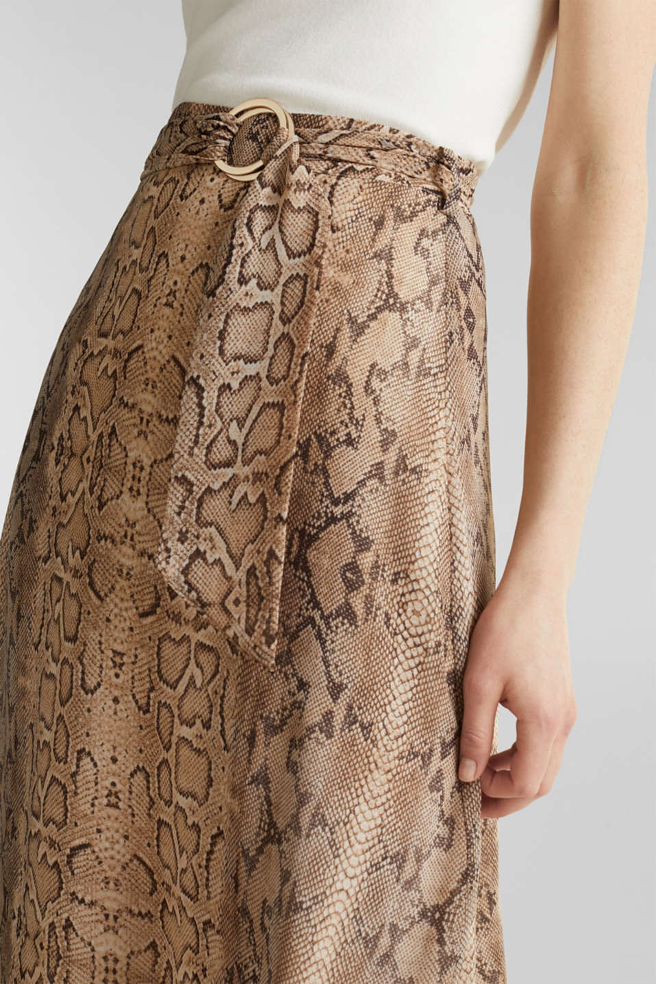 Chiffon skirt with snake print, LIGHT TAUPE 4, detail image number 5