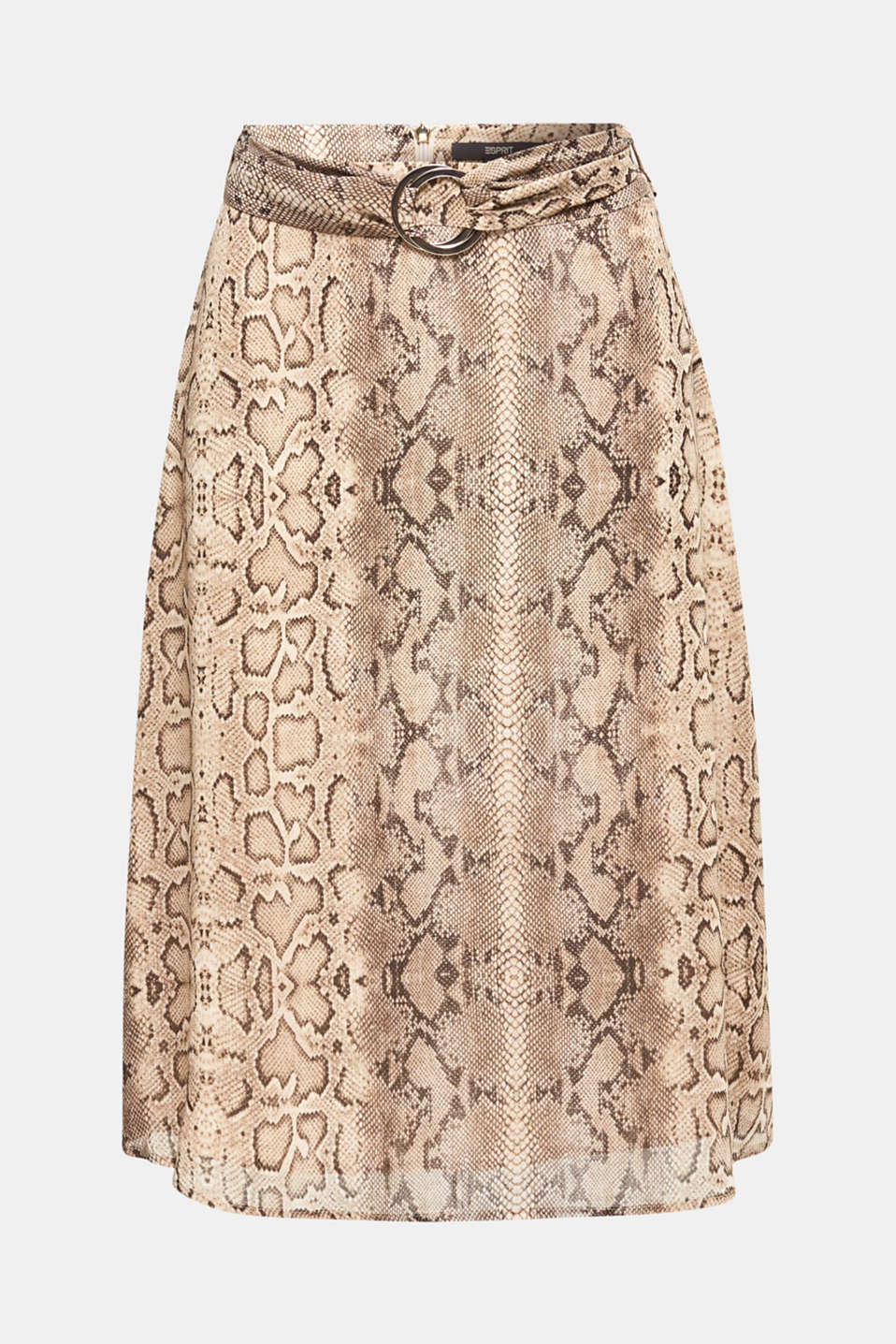 Chiffon skirt with snake print, LIGHT TAUPE 4, detail image number 6