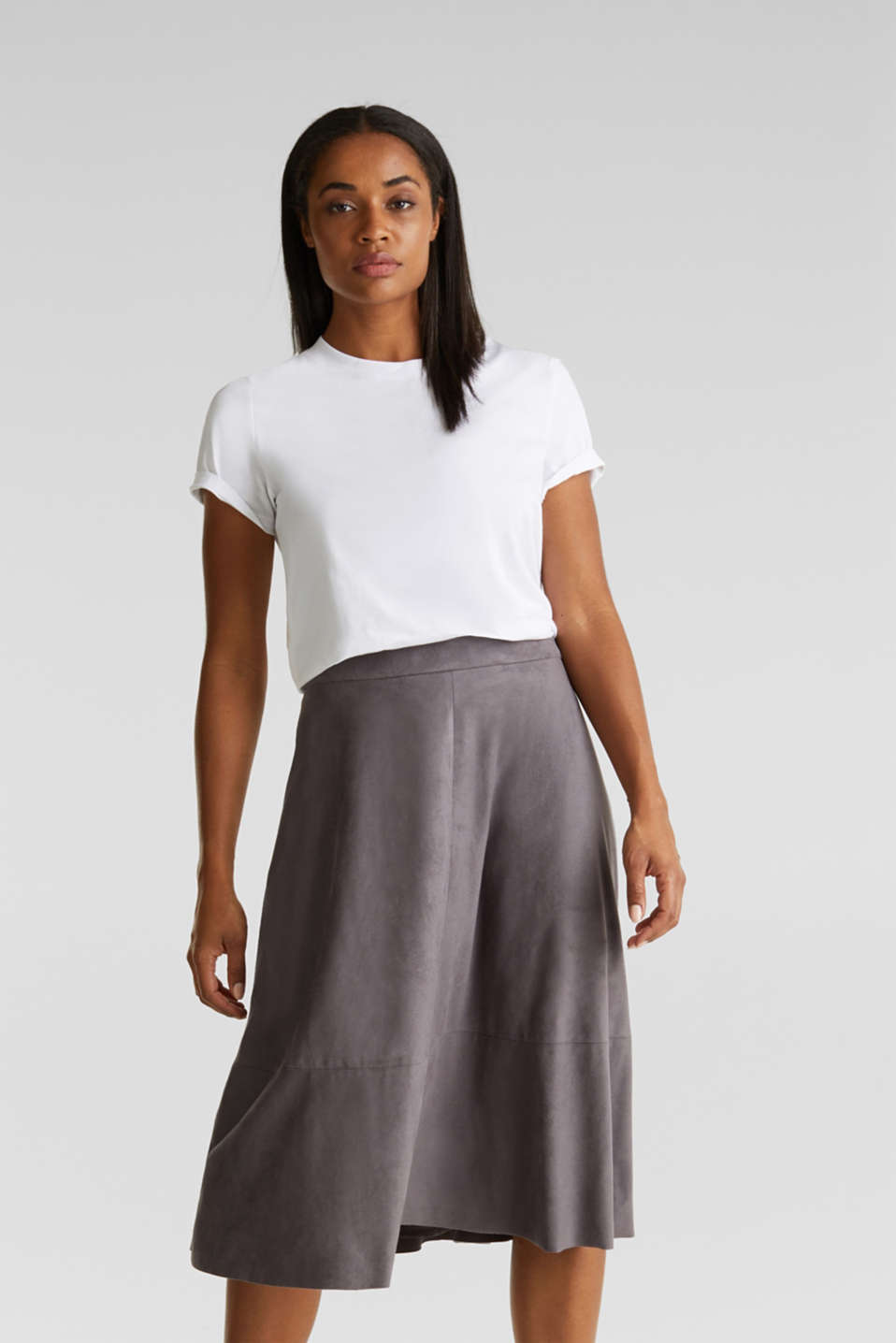 Faux leather skirt, vegan, TAUPE, detail image number 0