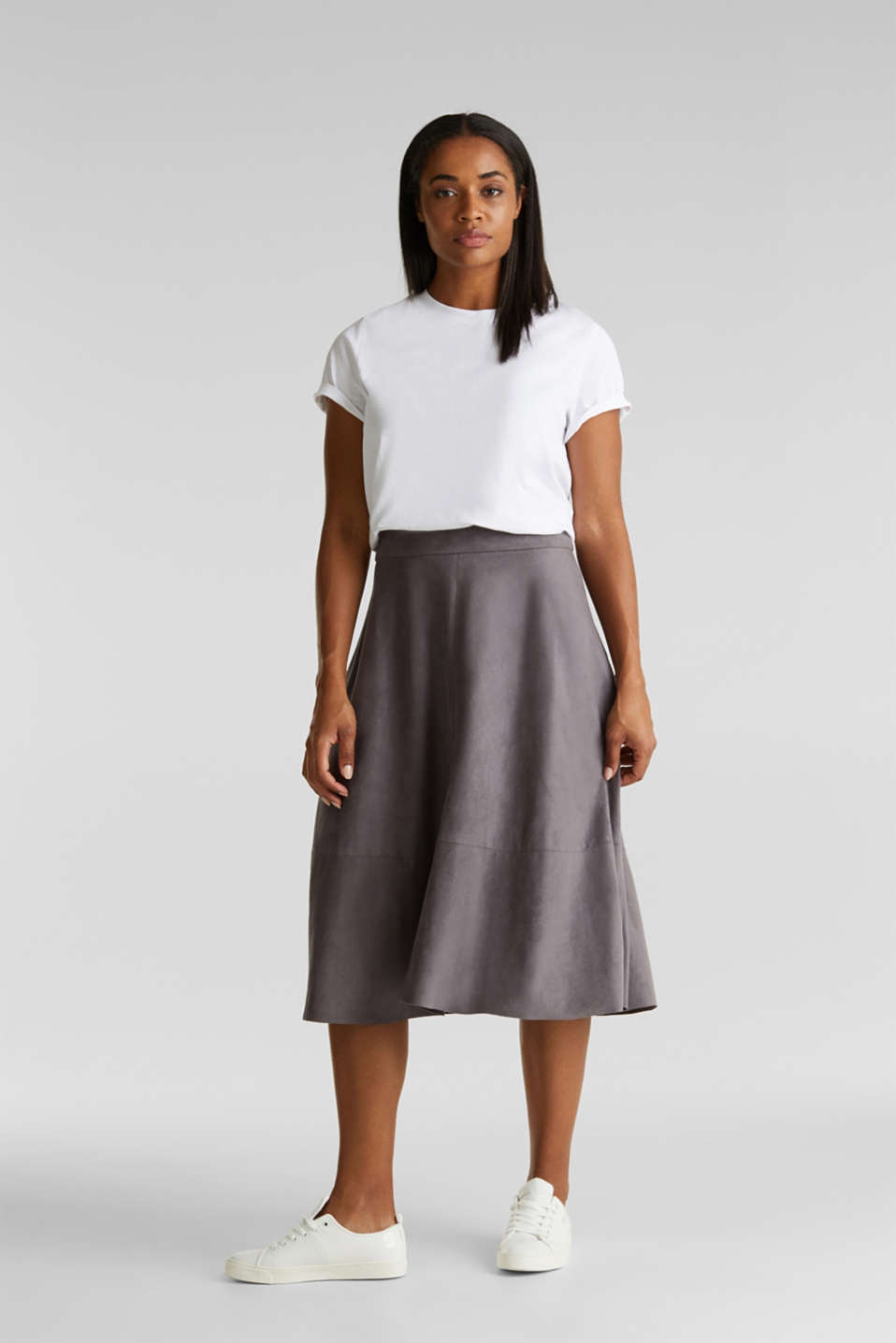 Faux leather skirt, vegan, TAUPE, detail image number 1