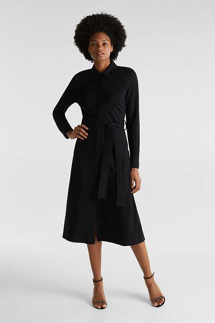 Stretch jersey shirt dress
