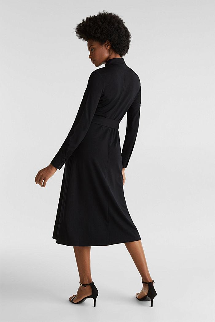 Hemdblusen-Kleid aus Jersey-Stretch, BLACK, detail image number 2