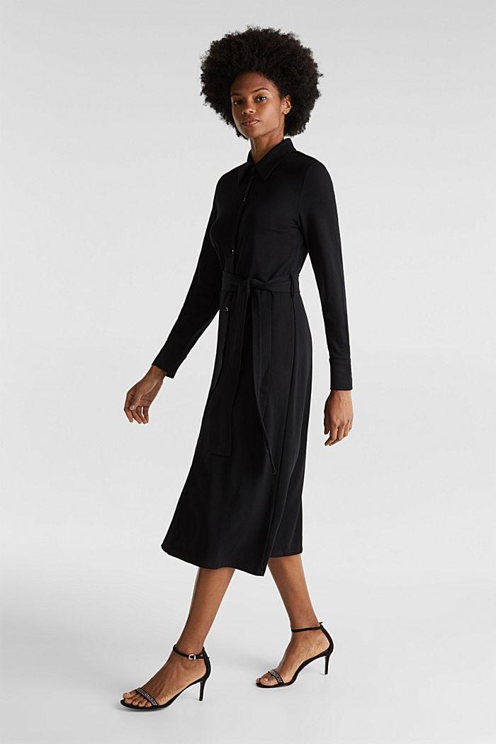 Hemdblusen-Kleid aus Jersey-Stretch, BLACK, detail image number 1