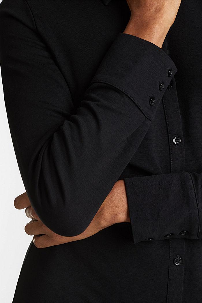 Hemdblusen-Kleid aus Jersey-Stretch, BLACK, detail image number 3
