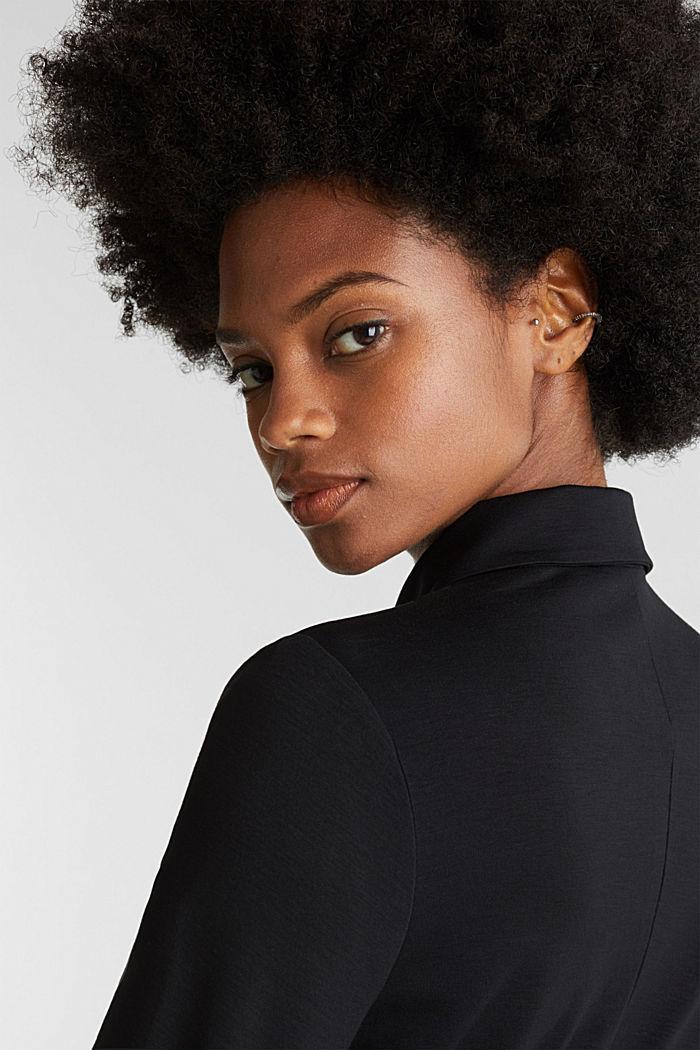 Hemdblusen-Kleid aus Jersey-Stretch, BLACK, detail image number 5