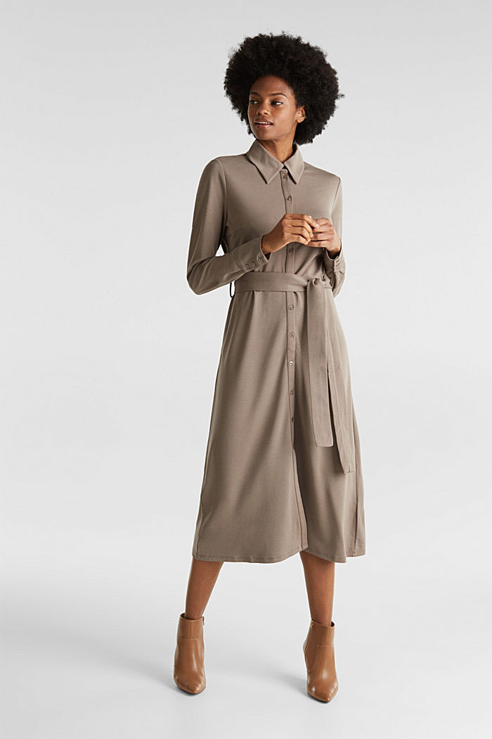 Hemdblusen-Kleid aus Jersey-Stretch, TAUPE, overview