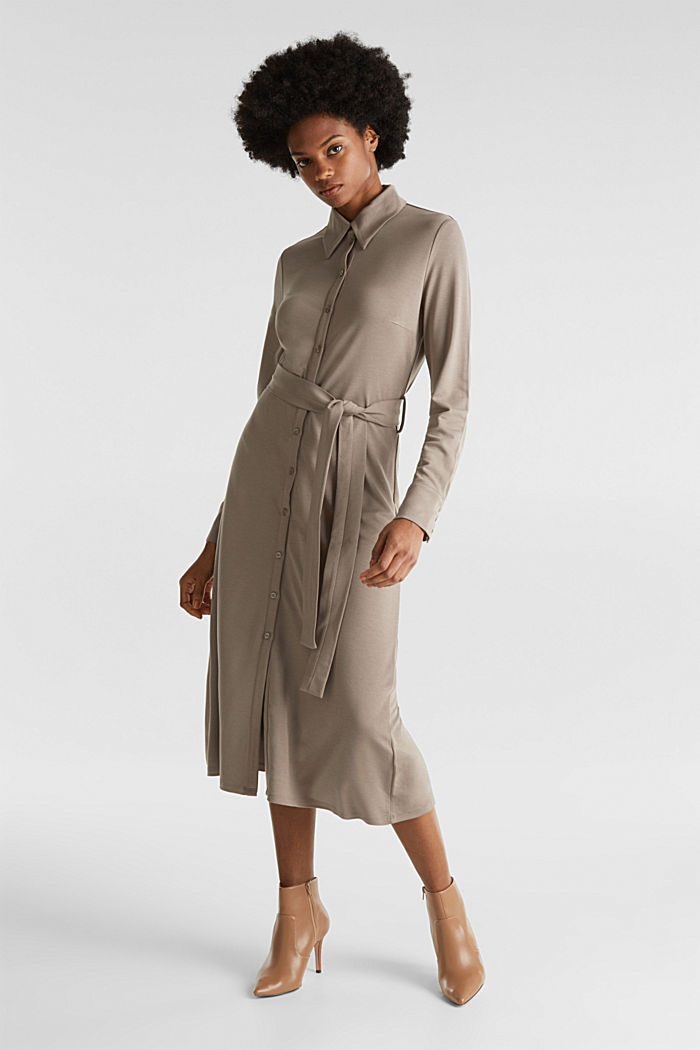 Stretch jersey shirt dress, TAUPE, detail image number 1