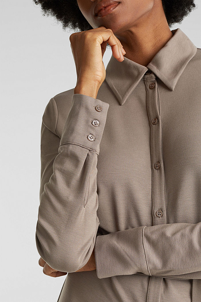 Stretch jersey shirt dress, TAUPE, detail image number 3