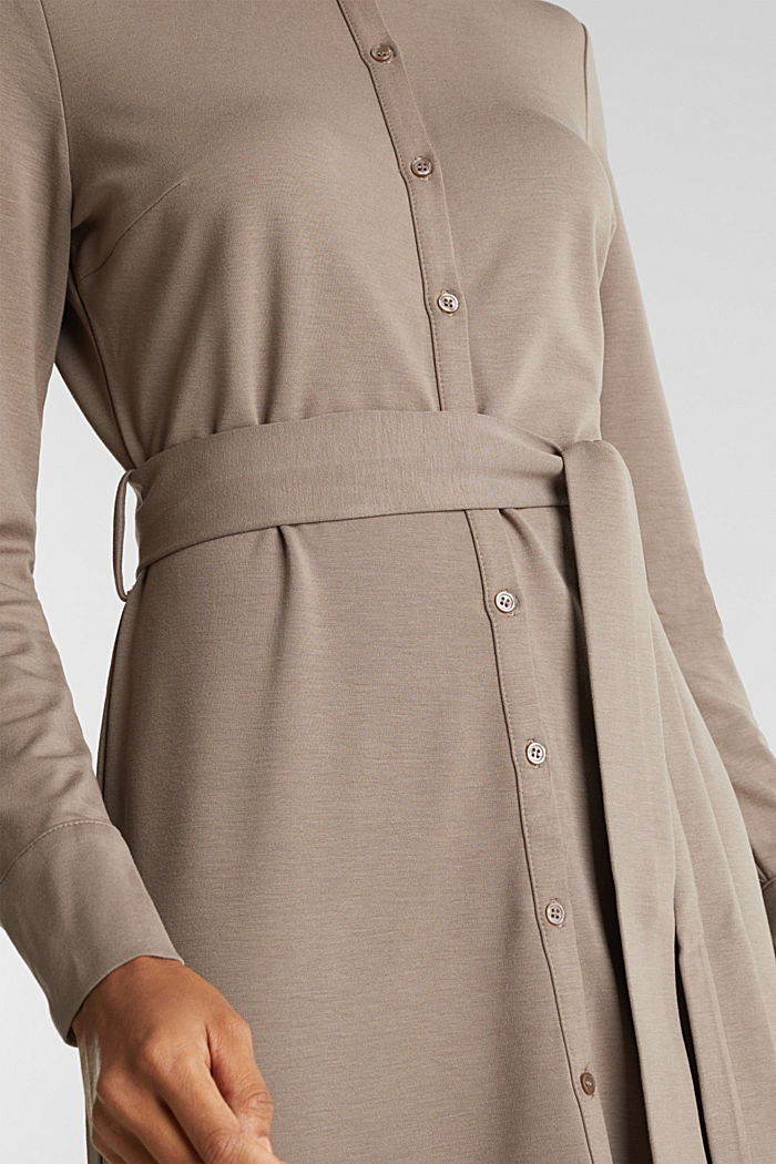 Stretch jersey shirt dress, TAUPE, detail image number 5