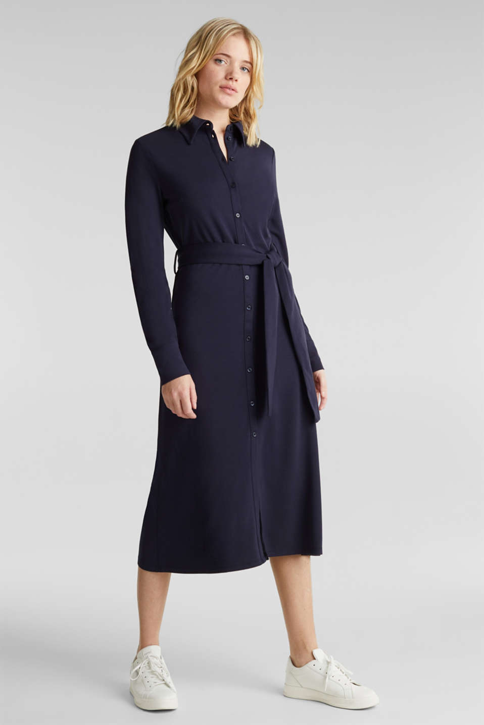 Esprit - Stretch jersey shirt dress