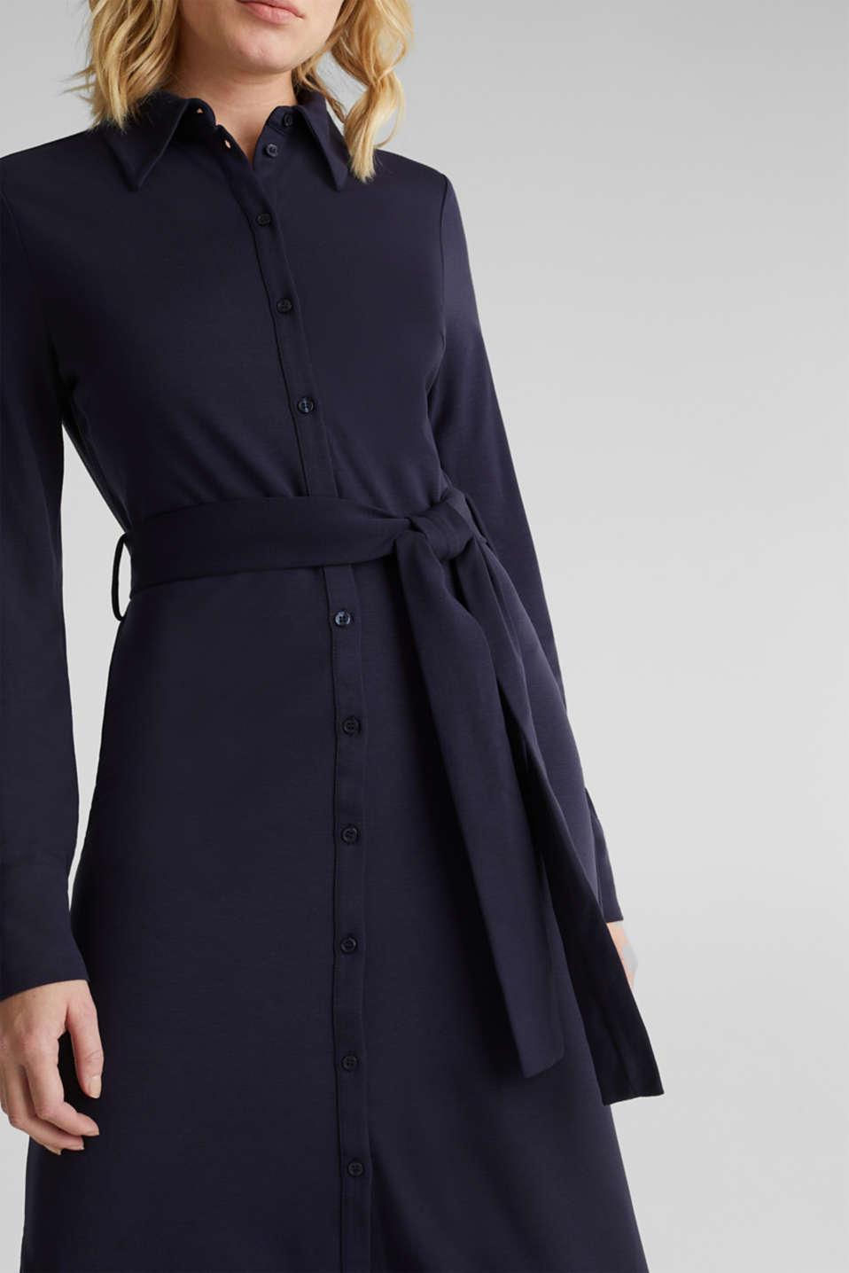 Stretch jersey shirt dress, NAVY, detail image number 3