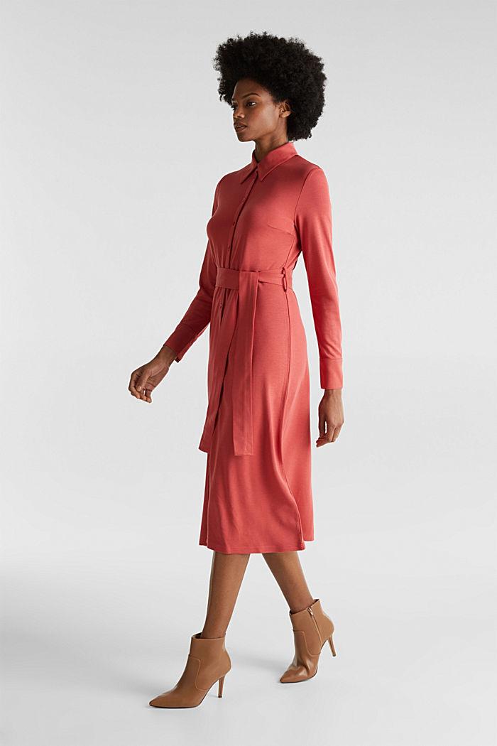Hemdblusen-Kleid aus Jersey-Stretch