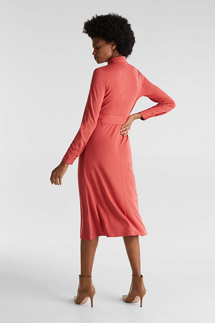 Hemdblusen-Kleid aus Jersey-Stretch, TERRACOTTA, detail image number 2