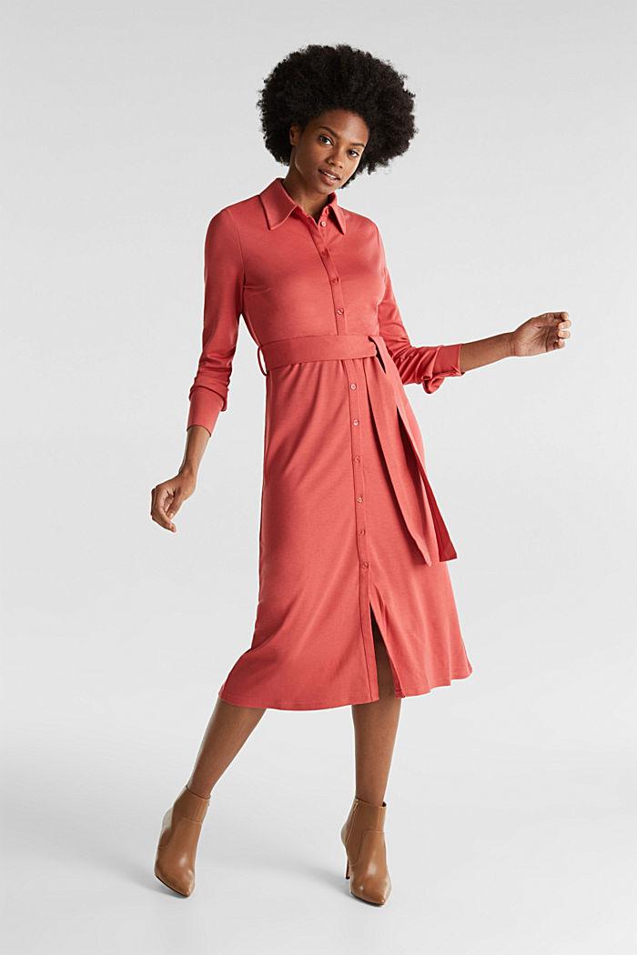 Hemdblusen-Kleid aus Jersey-Stretch, TERRACOTTA, detail image number 1