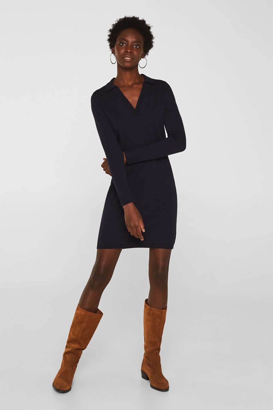 Blended silk: knit dress with a polo collar