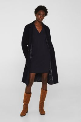 Blended silk: knit dress with a polo collar, NAVY, detail