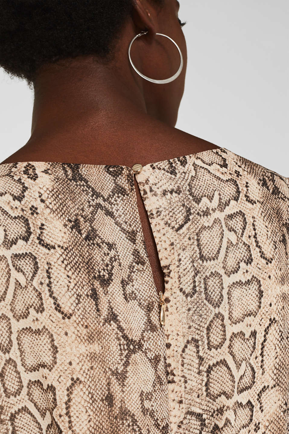 Chiffon dress with a snakeskin print and belt, LIGHT TAUPE 4, detail image number 5