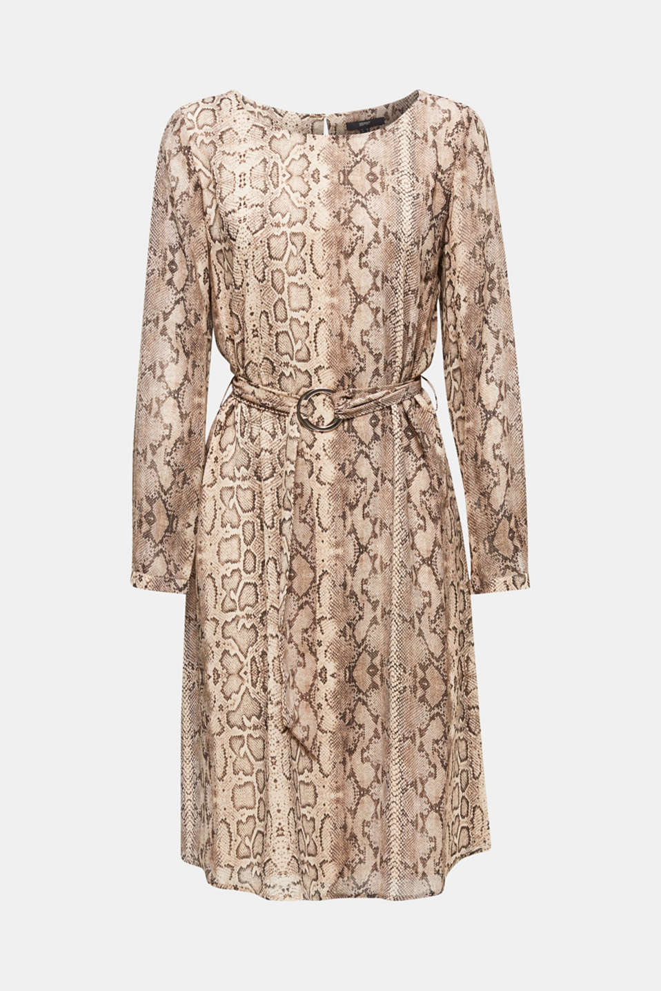 Chiffon dress with a snakeskin print and belt, LIGHT TAUPE 4, detail image number 8
