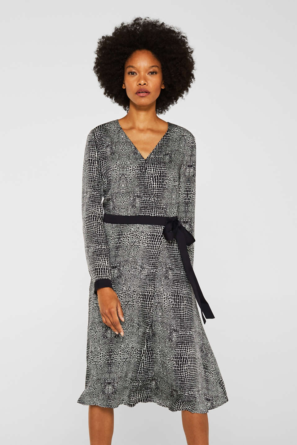 Esprit - Dress with a snake print in a wrap-over look