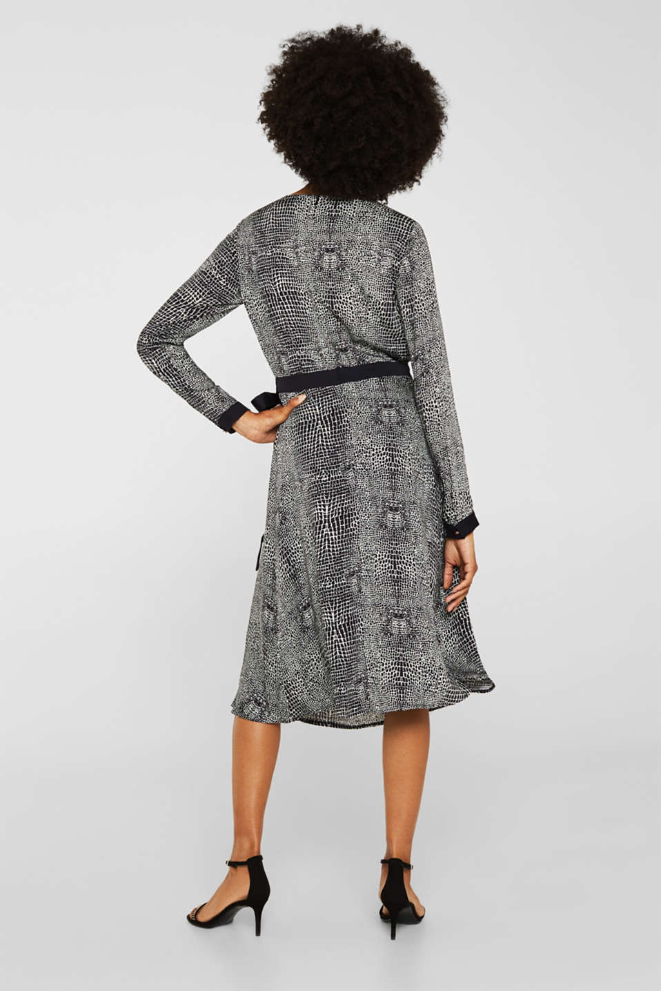 Dress with a snake print in a wrap-over look, OFF WHITE 4, detail image number 2