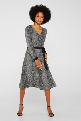 Dress with a snake print in a wrap-over look, OFF WHITE 4, detail