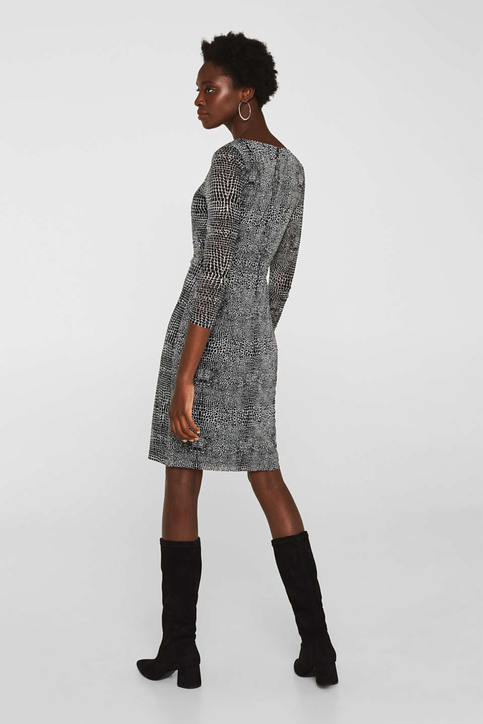 Mesh dress with an all-over print, OFF WHITE 4, detail image number 2