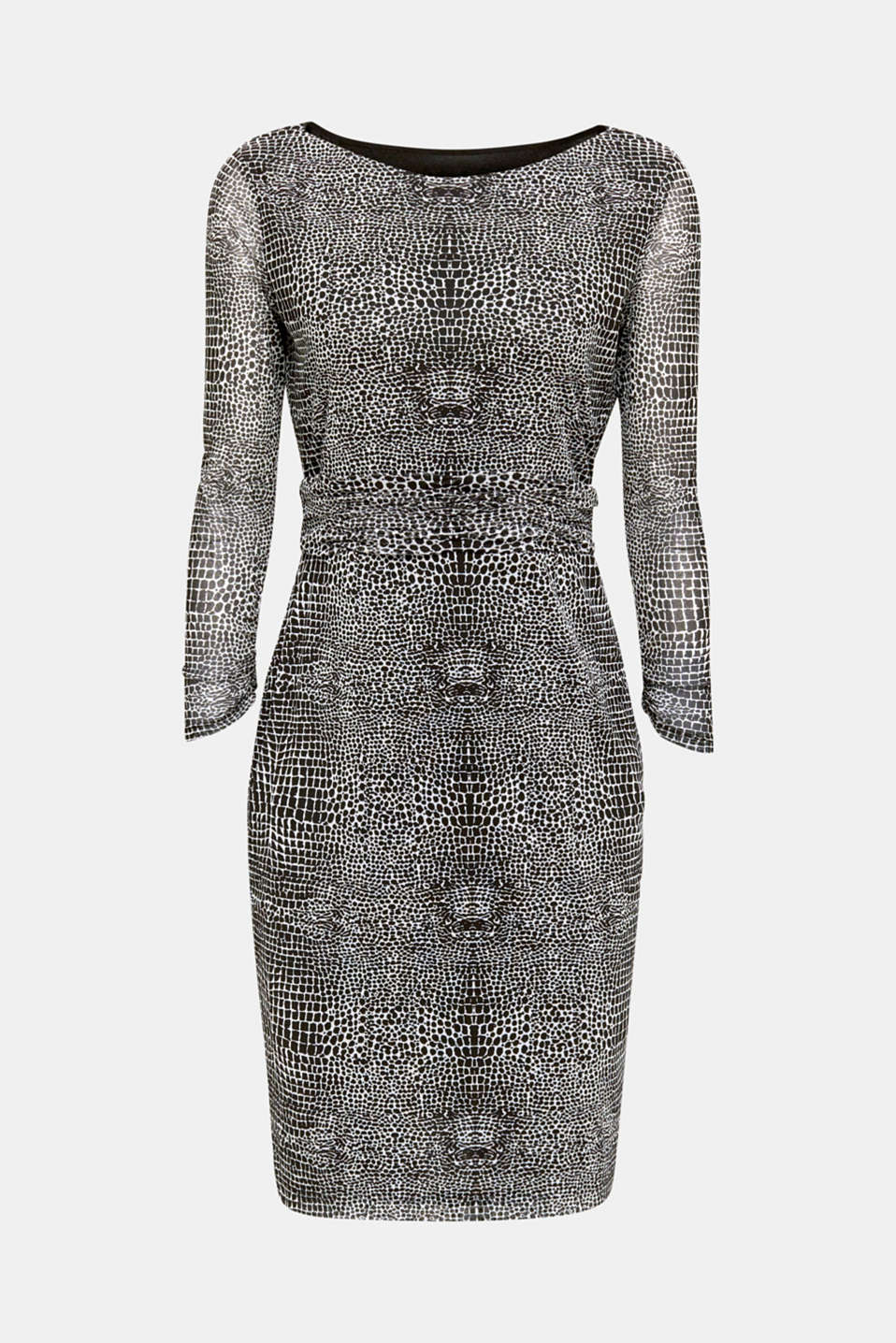 Mesh dress with an all-over print, OFF WHITE 4, detail image number 5