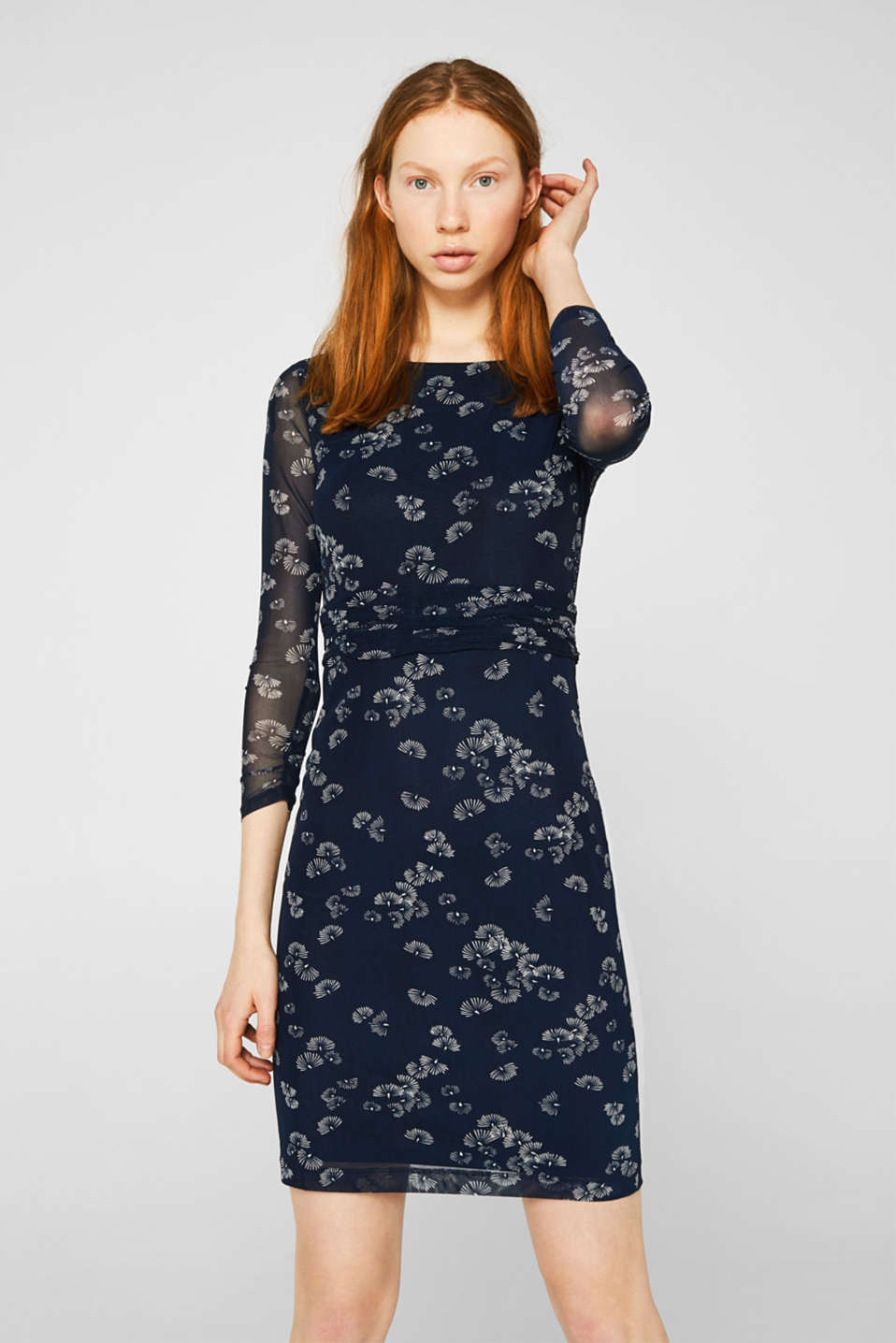 Mesh dress with an all-over print, NAVY 4, detail image number 0