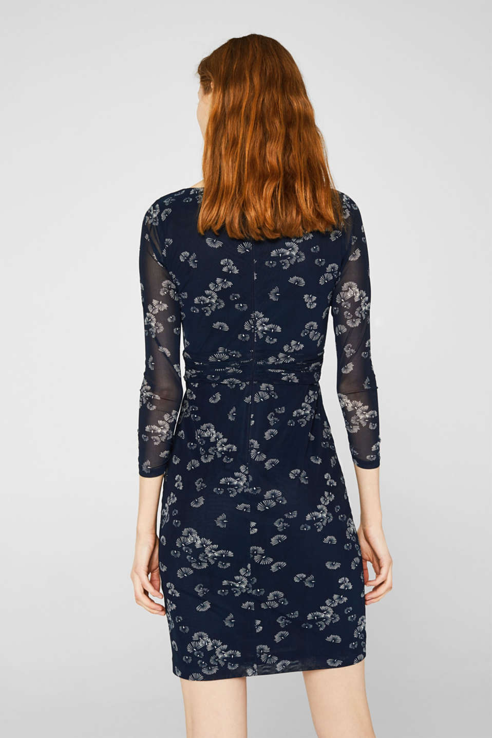 Mesh dress with an all-over print, NAVY 4, detail image number 2