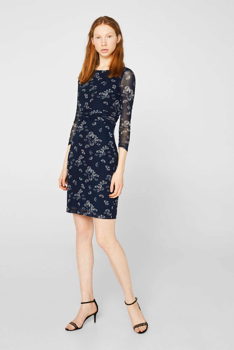 Mesh dress with an all-over print, NAVY 4, detail image number 1