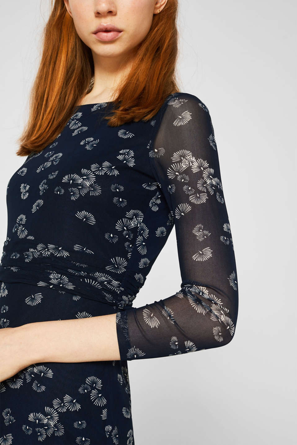 Mesh dress with an all-over print, NAVY 4, detail image number 3