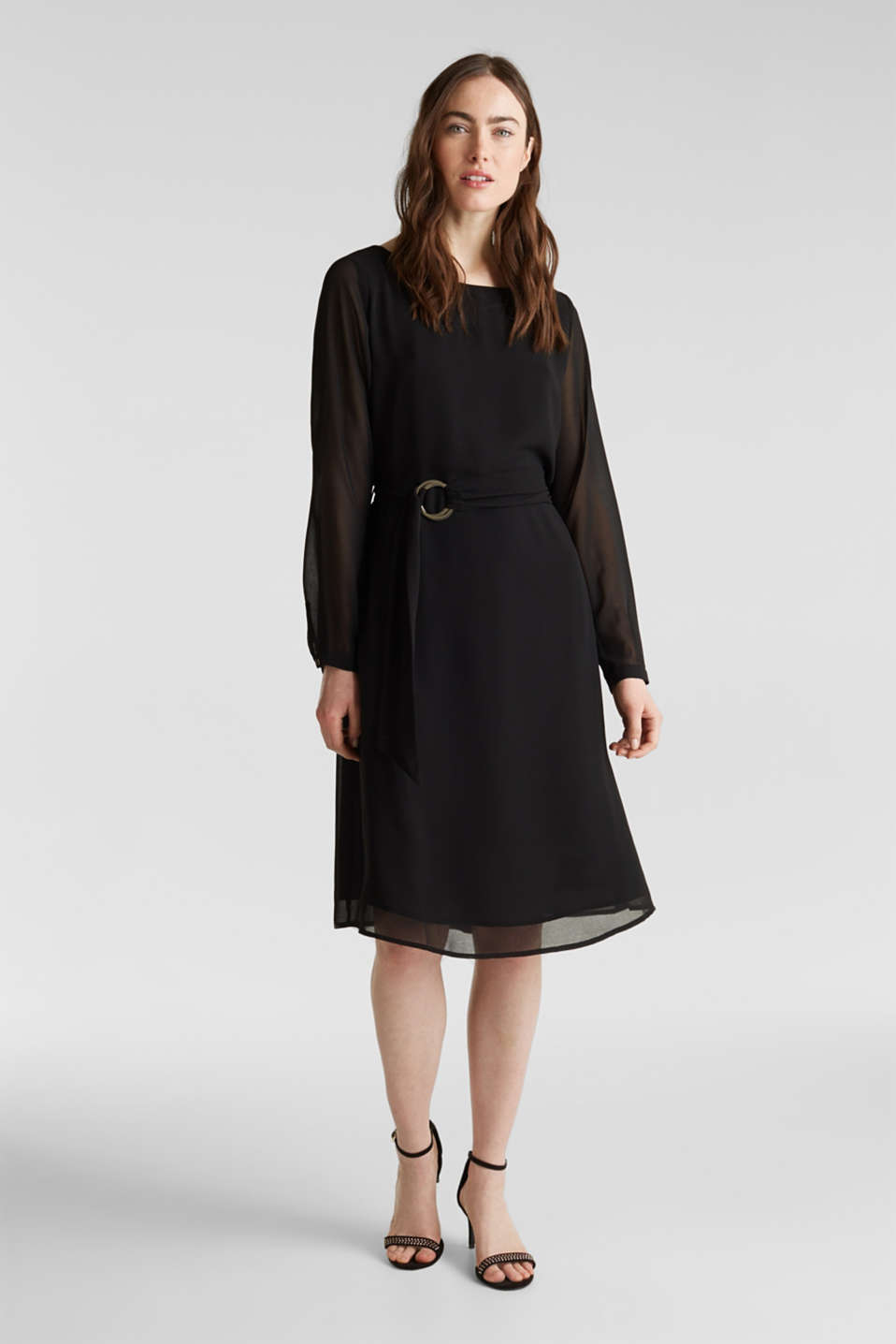 Flowing chiffon dress with a belt, BLACK, detail image number 0