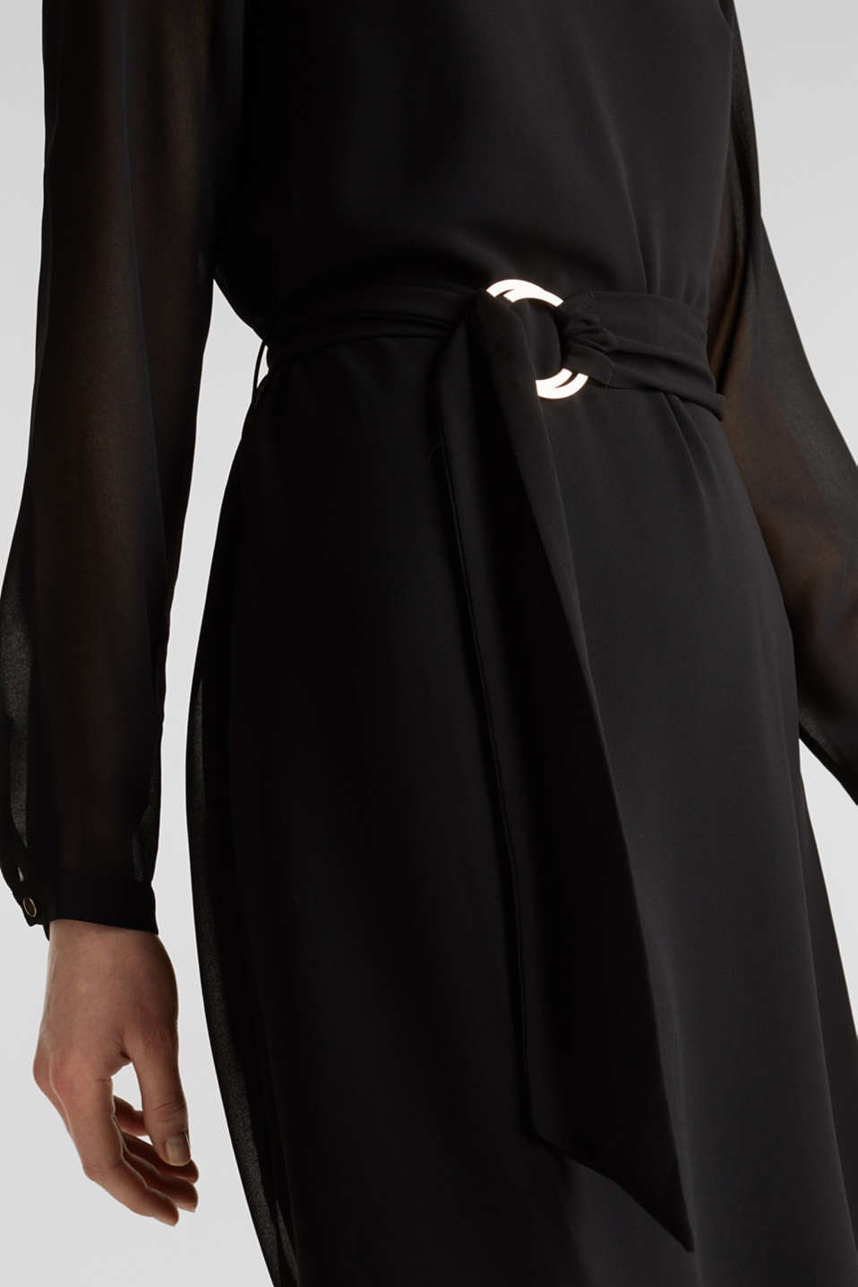 Flowing chiffon dress with a belt, BLACK, detail image number 5