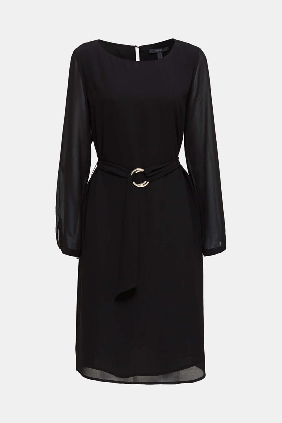 Flowing chiffon dress with a belt, BLACK, detail image number 6