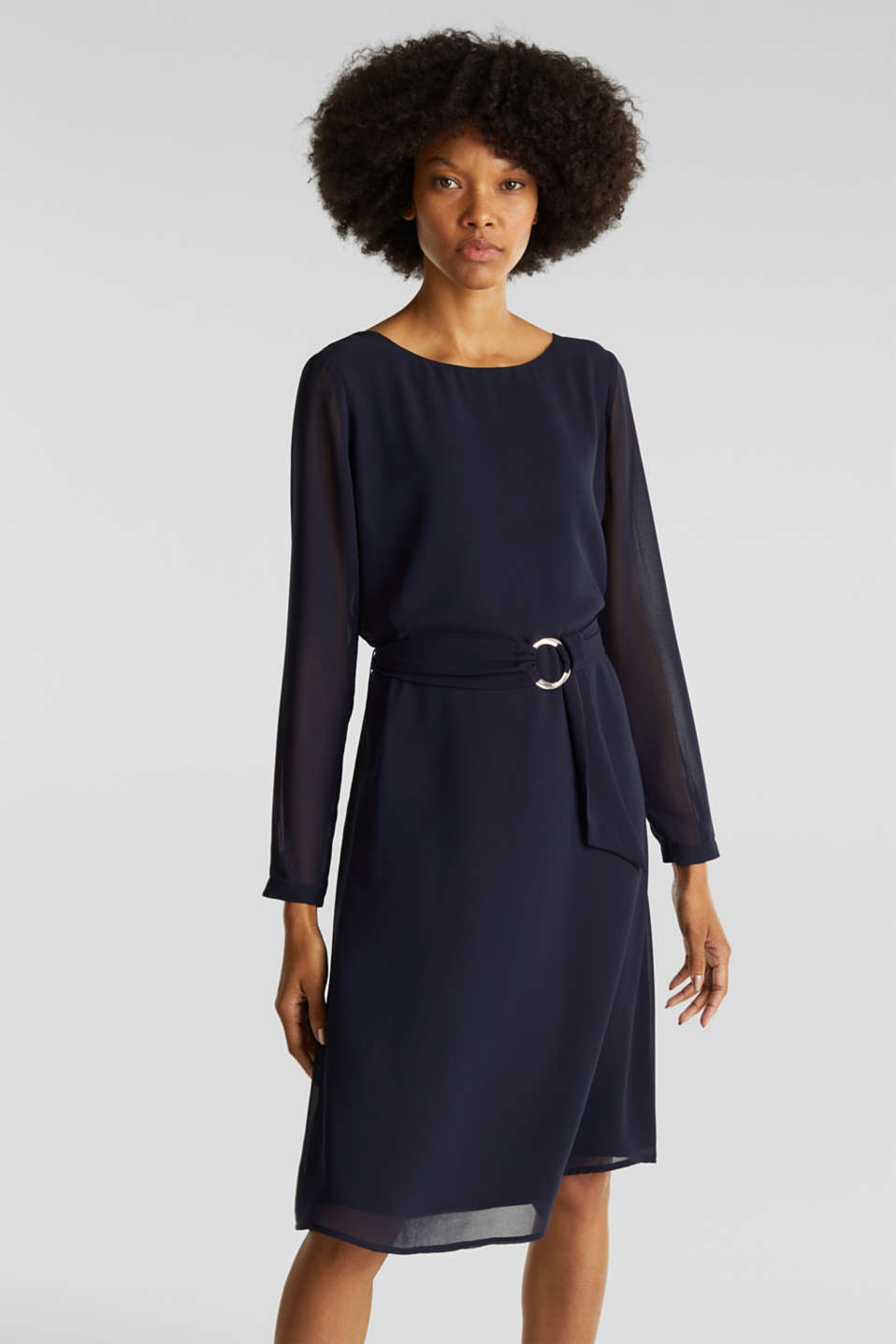 Flowing chiffon dress with a belt, NAVY, detail image number 0