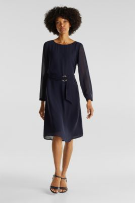 Flowing chiffon dress with a belt, NAVY, detail