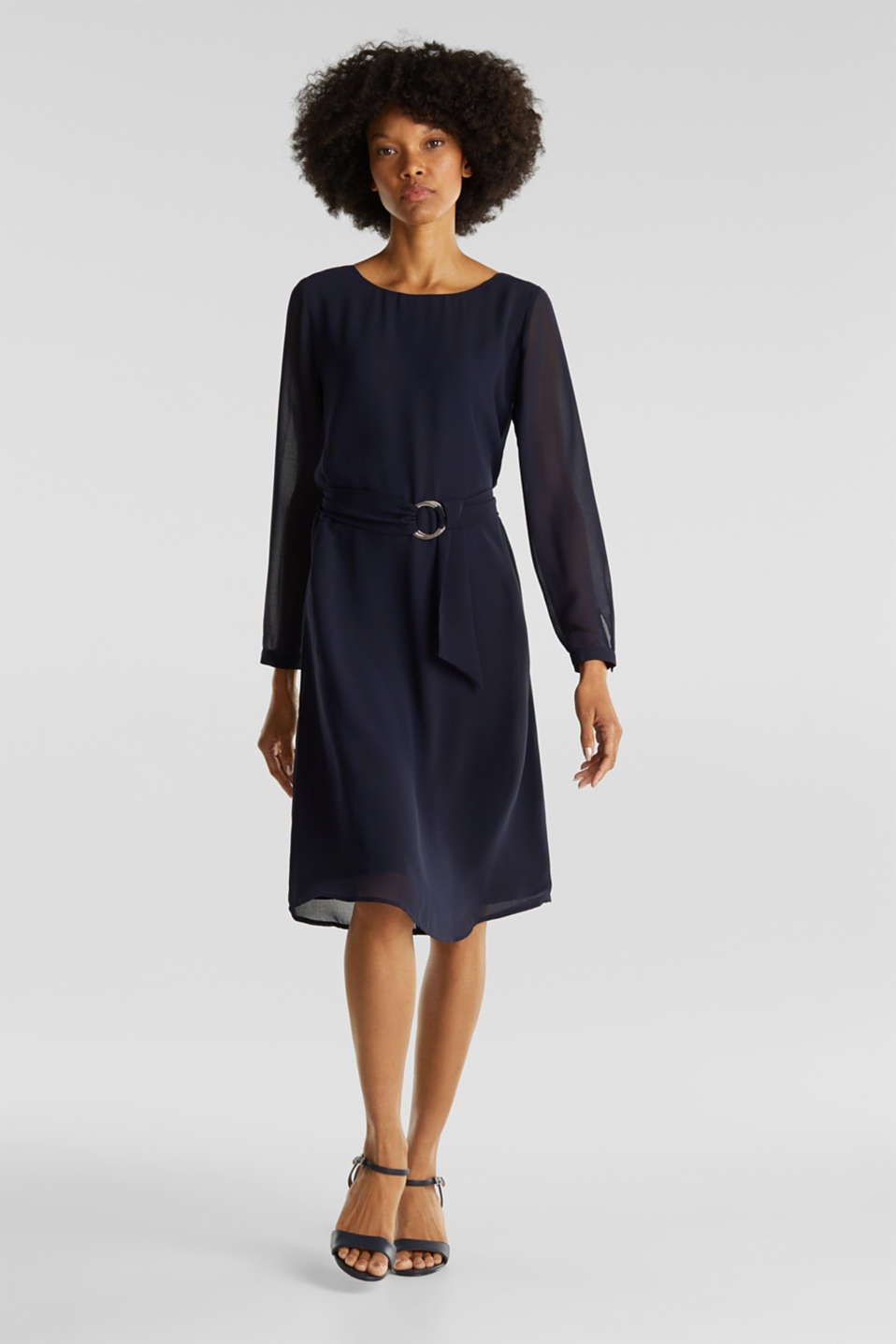 Flowing chiffon dress with a belt, NAVY, detail image number 1