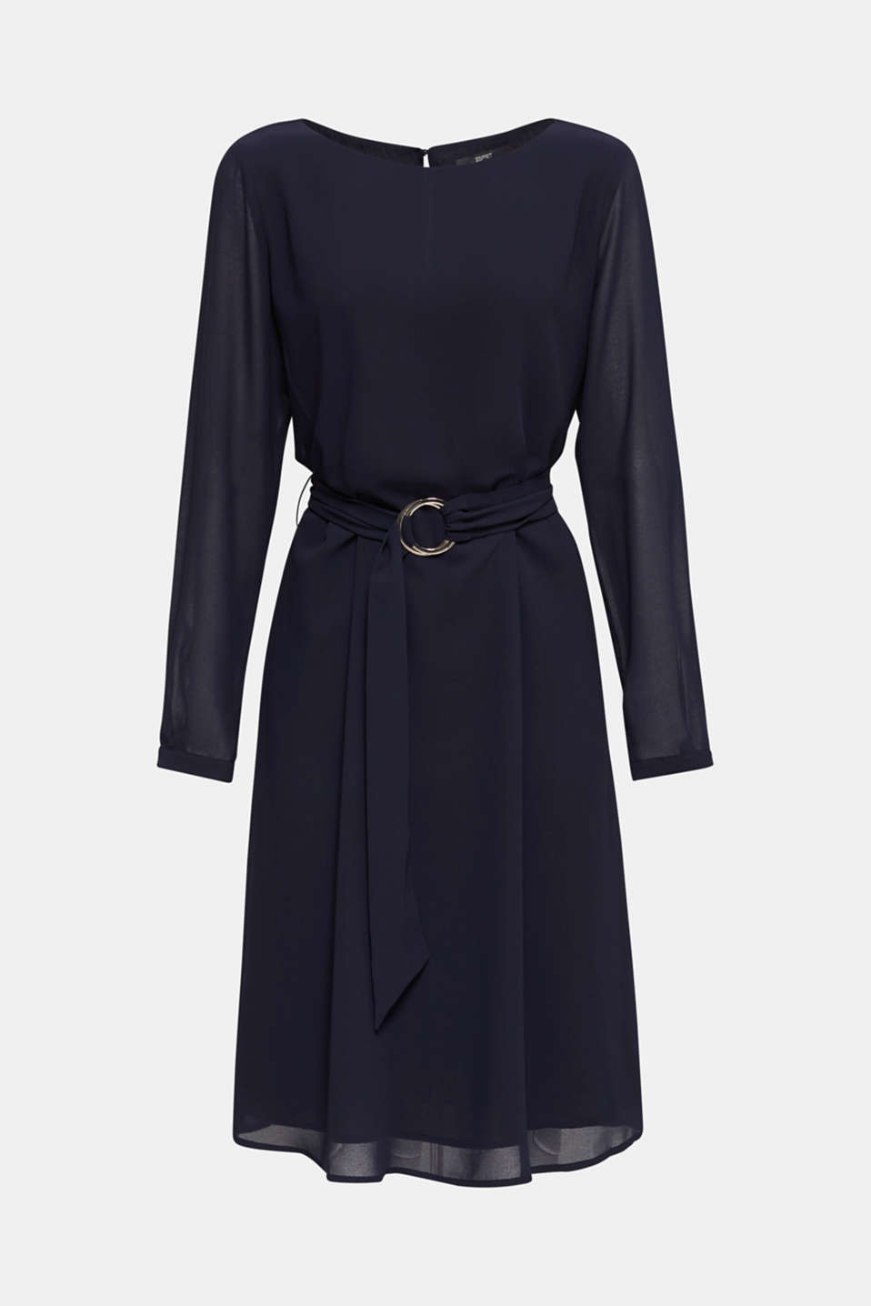 Flowing chiffon dress with a belt, NAVY, detail image number 5