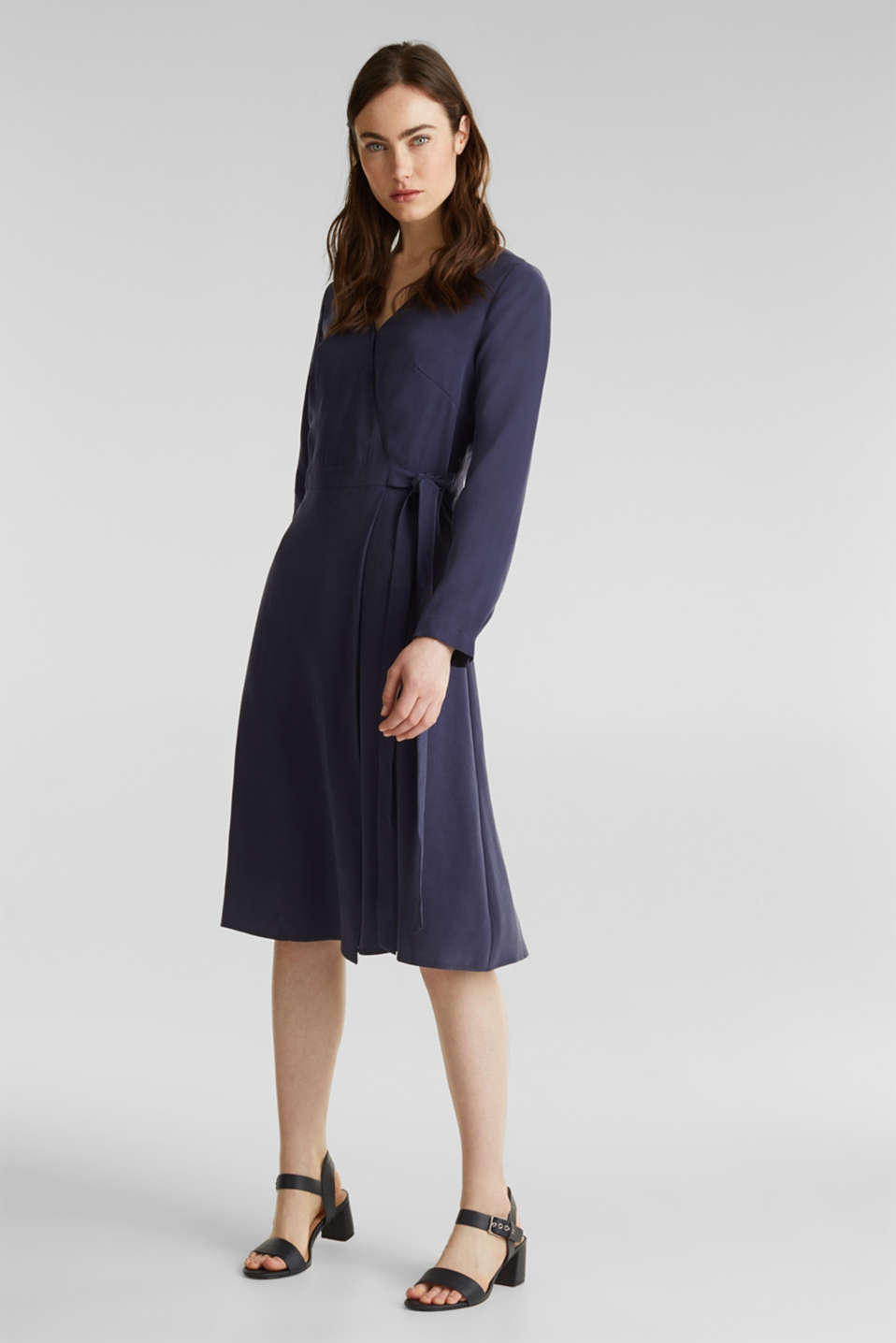 Midi dress with a wrap-over effect, NAVY, detail image number 1