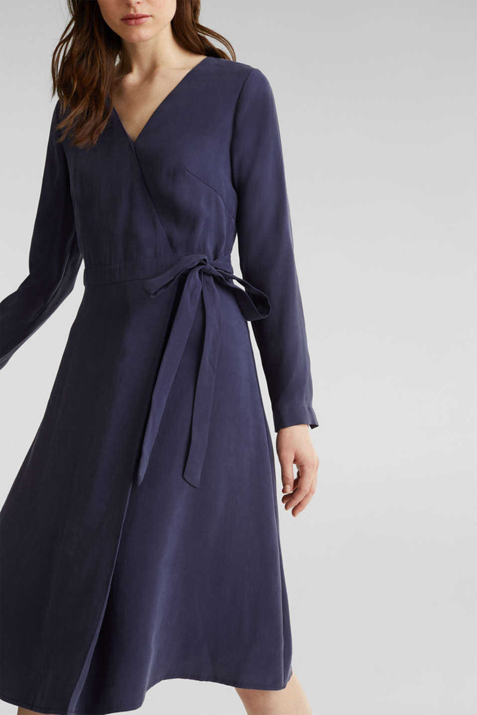 Midi dress with a wrap-over effect, NAVY, detail image number 3