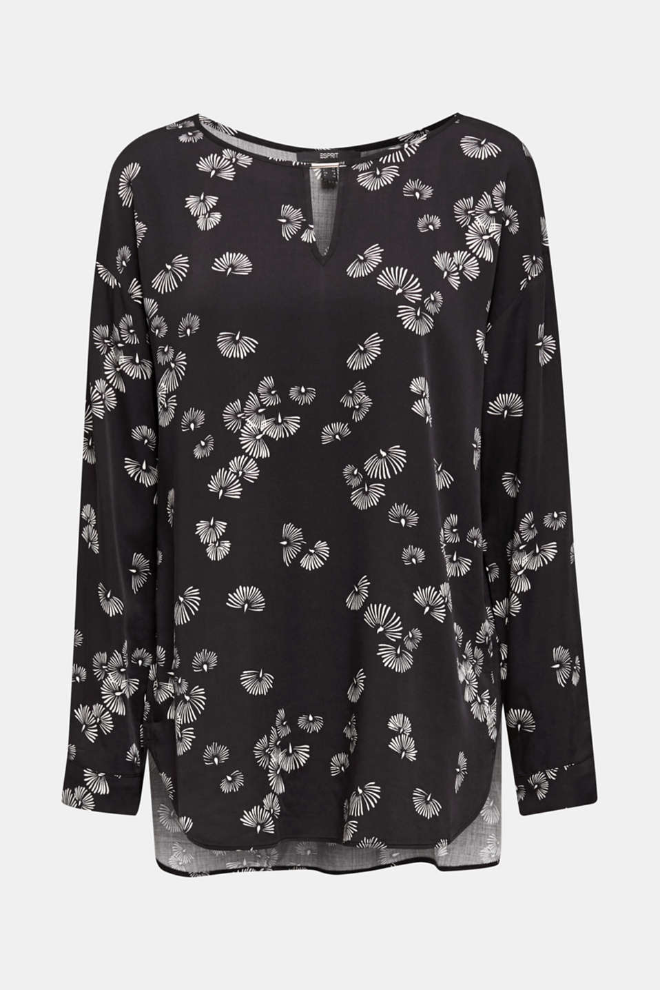 Printed blouse with a decorative metal element, BLACK 3, detail image number 6