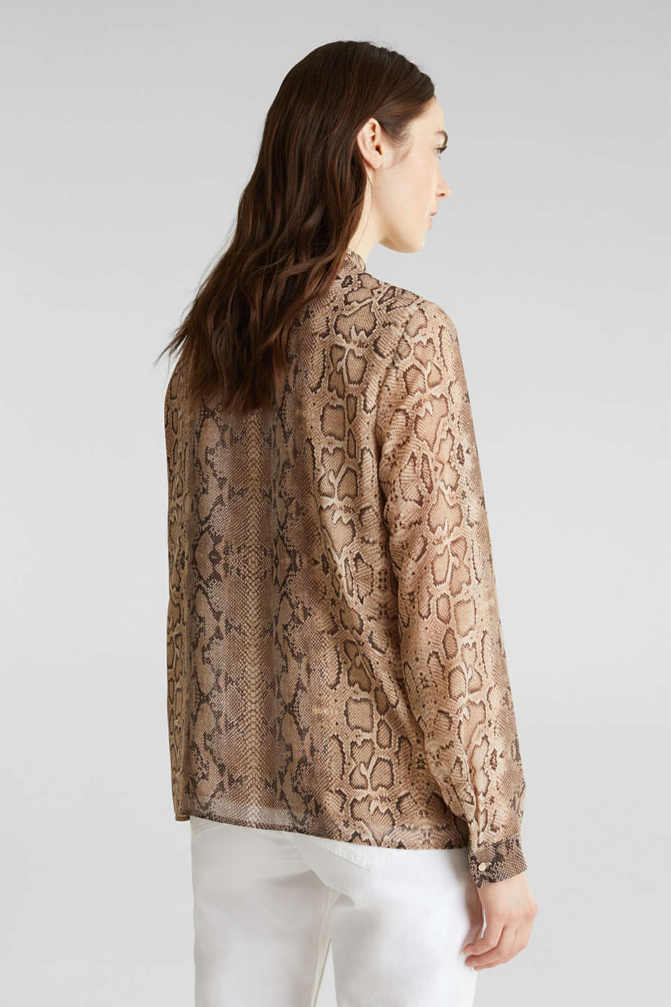 Georgette blouse with a pussycat bow, LIGHT TAUPE 4, detail image number 3