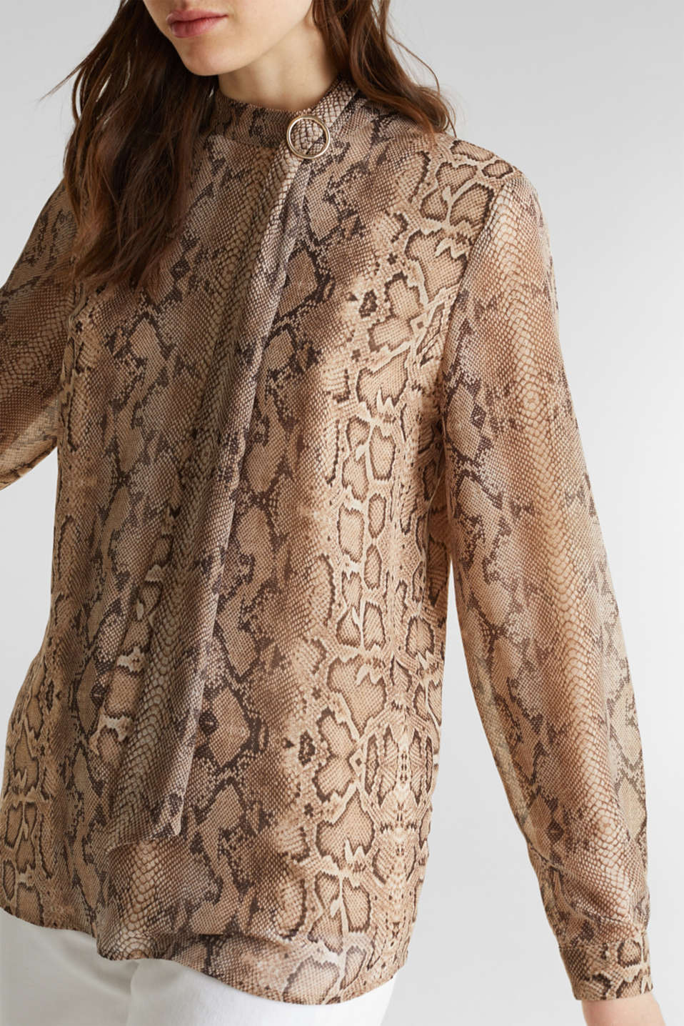 Georgette blouse with a pussycat bow, LIGHT TAUPE 4, detail image number 2