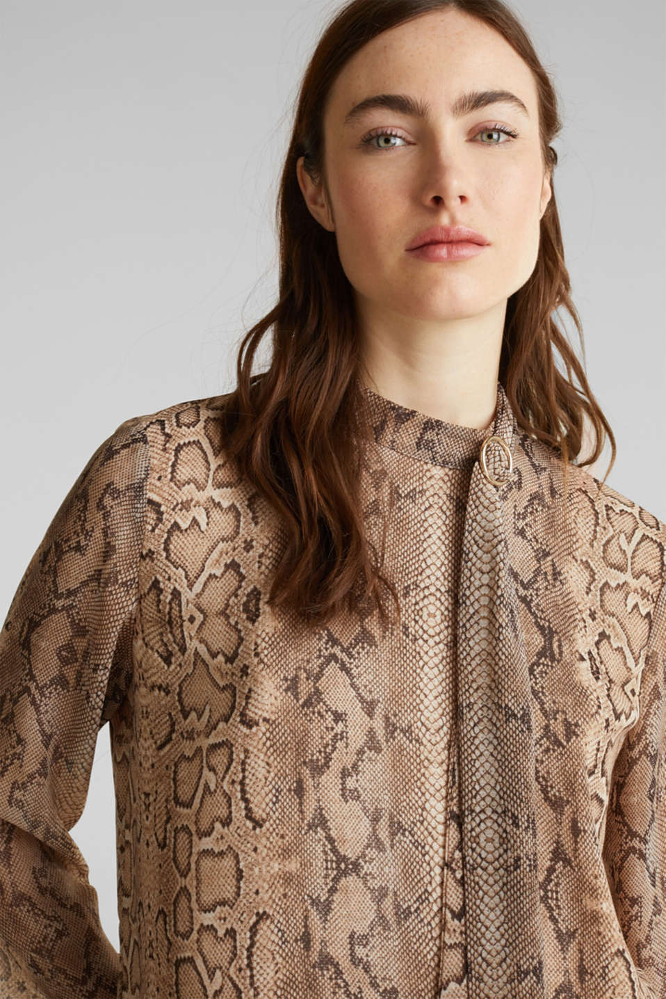 Georgette blouse with a pussycat bow, LIGHT TAUPE 4, detail image number 6