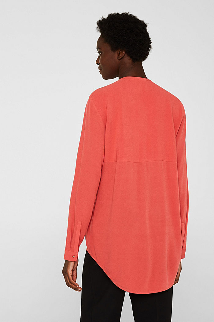Long blouse made of fine crêpe, TERRACOTTA, detail image number 3