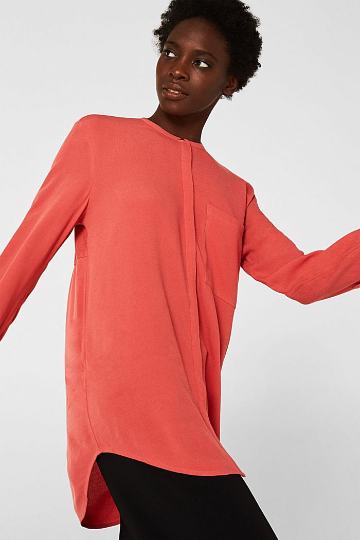 Long blouse made of fine crêpe, TERRACOTTA, detail image number 5