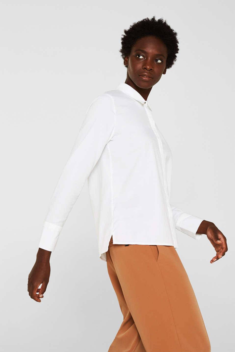 Crêpe blouse with elegant details, 100% cotton, OFF WHITE, detail image number 5