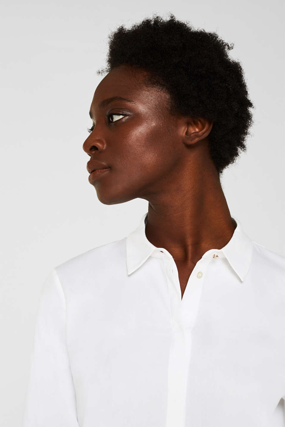 Crêpe blouse with elegant details, 100% cotton, OFF WHITE, detail image number 6