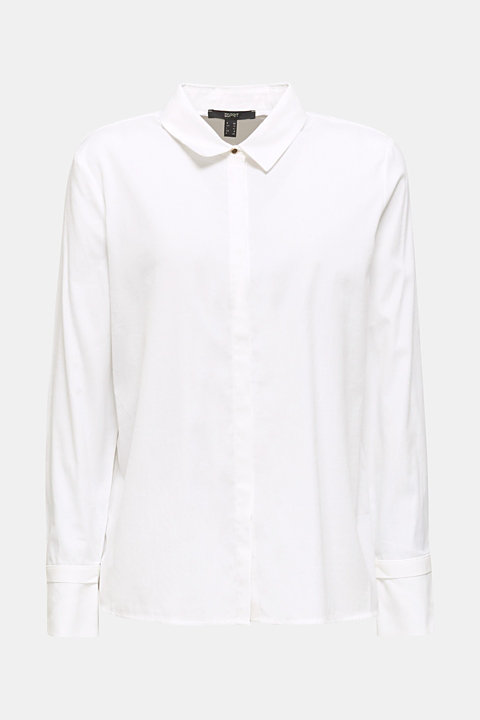 Crêpe blouse with elegant details, 100% cotton