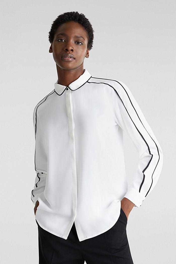 Crêpe-Bluse mit Kontrast-Paspelierungen, OFF WHITE, detail image number 0